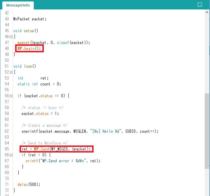 arduino multicore hello4 sub