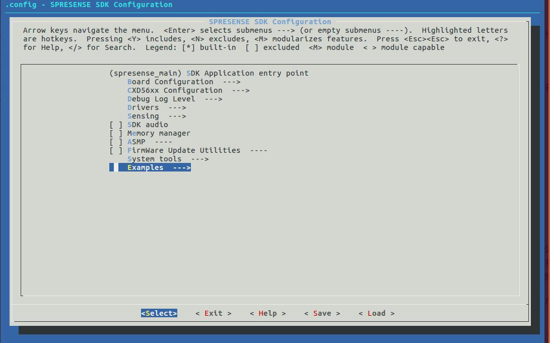 spresense hello example configuration1