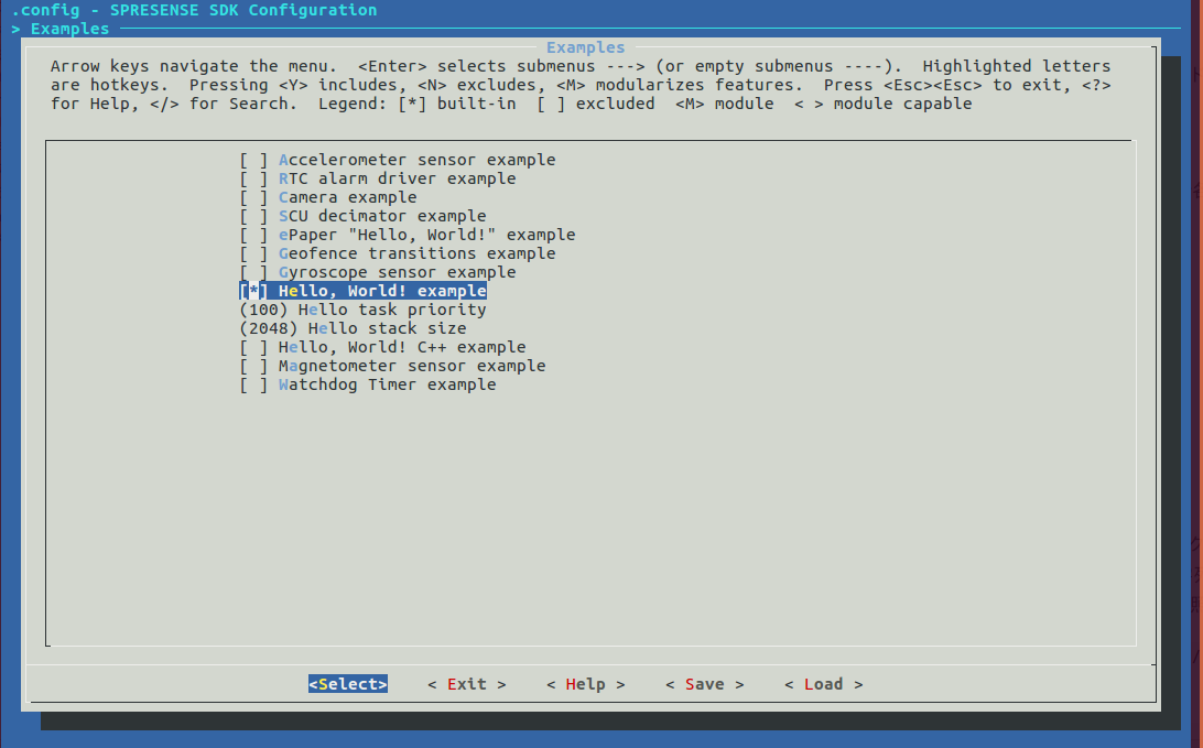 spresense hello example configuration2