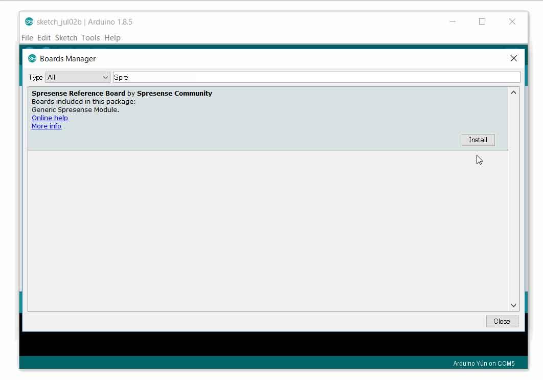 tutorial arduino boardmanager spresense install